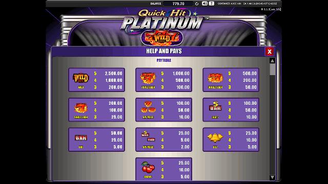 Quick Hit Platinum Paytable